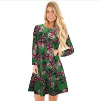 L3018A New Style Ladies Long Sleeve Fashion Reindeer Printed Christmas Casual Dress