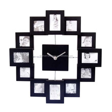 practical use 12 square photo frame wall clock with hollow looks