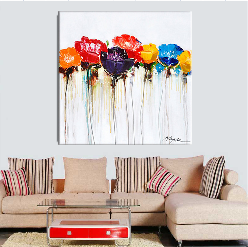 Large Handpainted Abstract Modern Wall Painting Colorful Flower Knife Oil Painting On Canvas Wall Decor Home Decoration