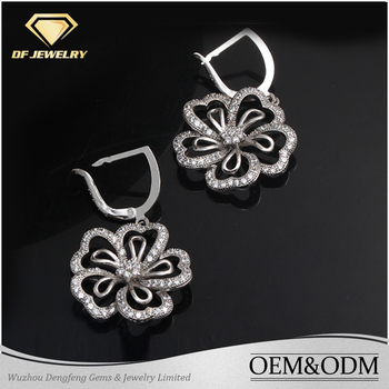 Wholesale Woman Earring Jewelry Real 18K White Gold Solid Silver AAA Cubic Zircon Dangle Flower Hoop Earrings