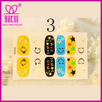 smile face and star custom nail art stickers/cheap nail art sticker