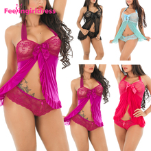 Hot Sexy Lace Sleepwear Back Satin Bow Mature Women Babydoll