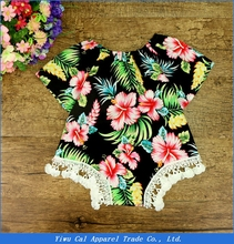 2017 New Design Rompers Newborn Baby Cotton Ruffle Romper Girls Summer Style Clothing flower romper With Headband