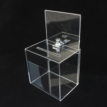 Acrylic Donation Box Message Tip Suggestions Lockable Clear Ballot Mail Contest Fund-raising Charity Collection