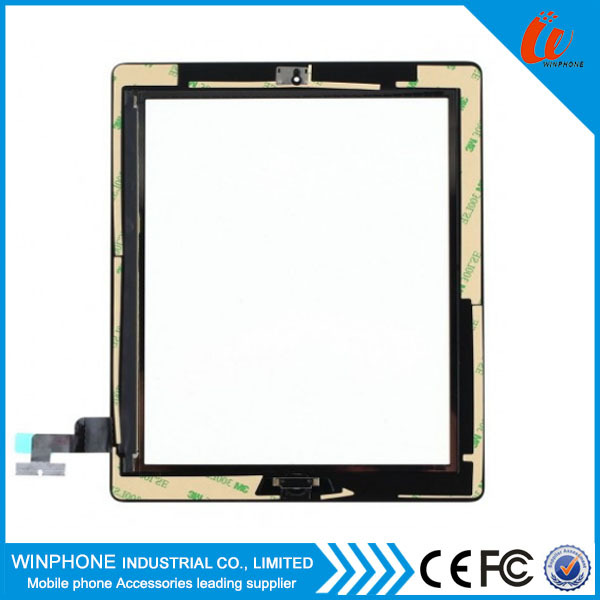 Front panel touch screen glass digitizer for iPad 2 black with home button assembly