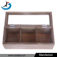 Wooden 3 Compartments Tea Bag Display Storage Organizer Box