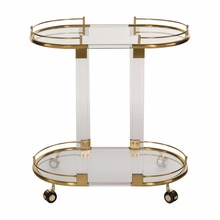 Modern Hotel Serving Bar Trolley Cart Clear Acrylic Gold Hand Wine Trolley for Sale
