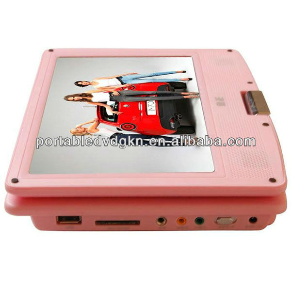 9 inch Pink Portable DVD player with USB TV tuner FM transmitter 3 in 1 card slot cheap kids friendly DVD portable player