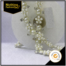 2015 Newest fashion crystal rhinestone chain pearl rhinestone chain for bikini NRC057