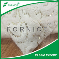 china supplier polyester Embroidered sequins fake fur fabric