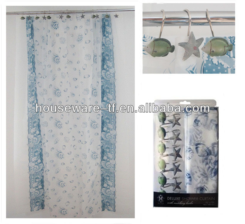 Hot sell rainbow fashion luxury home goods Ocean accessories shower curtain