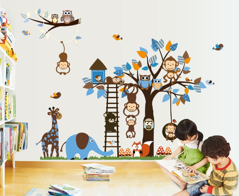 Monkey Owl Animals Tree Removable Vinyl Wall Decal Stickers Kids Room Home Decor