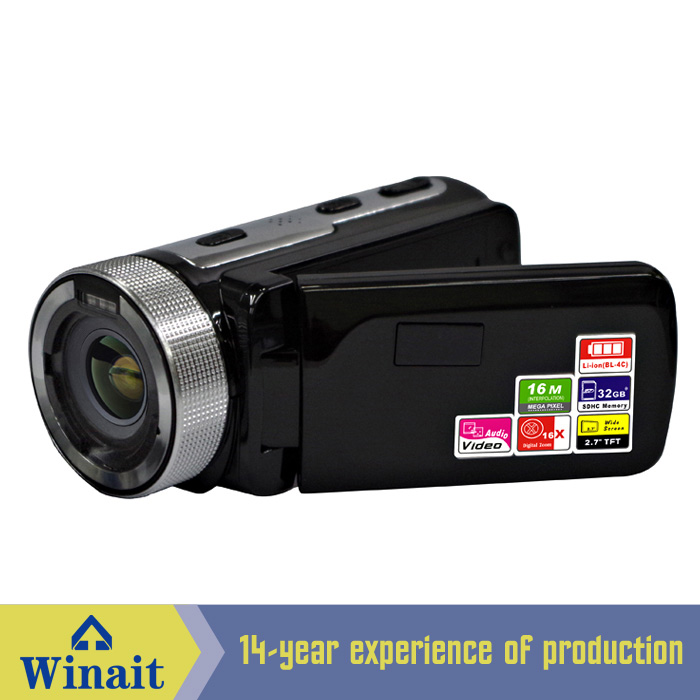 "0.3 Mega Pixels Hardware Resolution digital video camera Interpolation up to 16MP with 2.7"" TFT Screen and 16X digital zoom"
