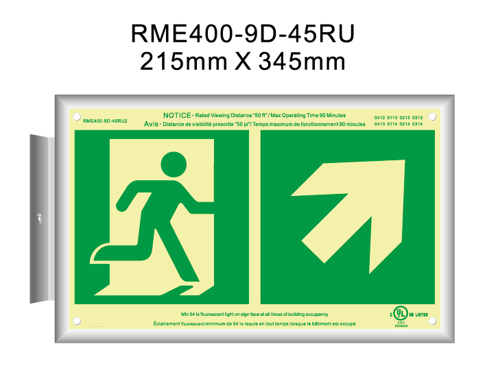 cUL Photoluminescent Exit sign emergency photoeluminescent running man