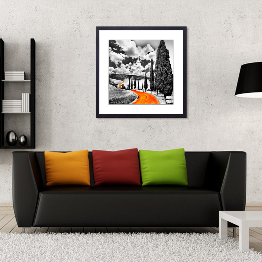 Orange Road scenery Wall Art Print/Picture Frame Canvas Artwork/Home Decor New Products