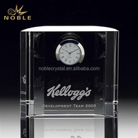 Hot Selling Clear Glass Custom Engraved Square K9 Crystal Small Table Clock For Buiness Souvenir Gift.
