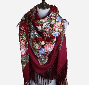 Hot Selling Winter Warm Women Russia Printing Scarf For Wholesale Whit Tassel Fringe Design