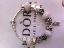European Bracelet with Charms & Beads Sterling Silver 925