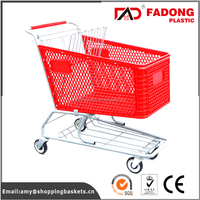 plastic retail store shopping trolley cart with metal stand