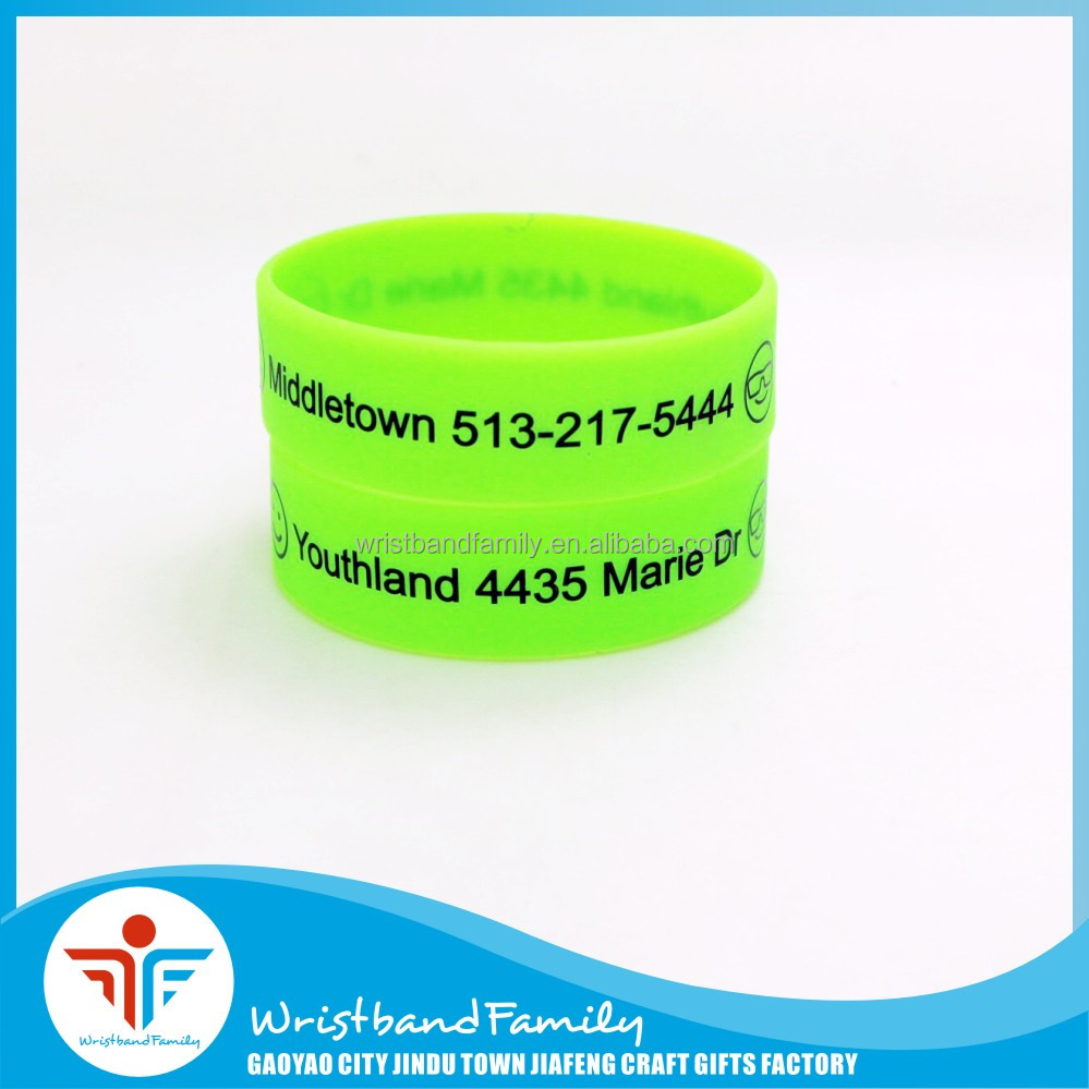 Neon Green Text Printed 3/4 Inch Silicon Wrist Band 20MM