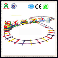 Most popular cheap outdoor kids electric train games electric mini train with track QX-132C
