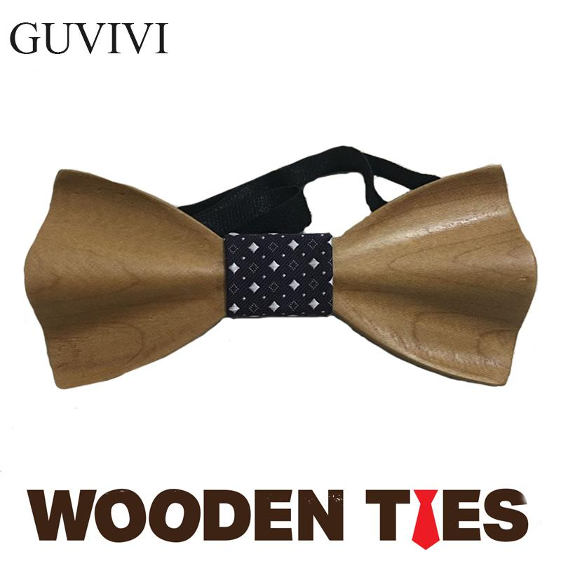 2016 European Fashion Personality Accessory Geometric Design Solid Good Wood Bow Butterfly 3D Weeding wood tie