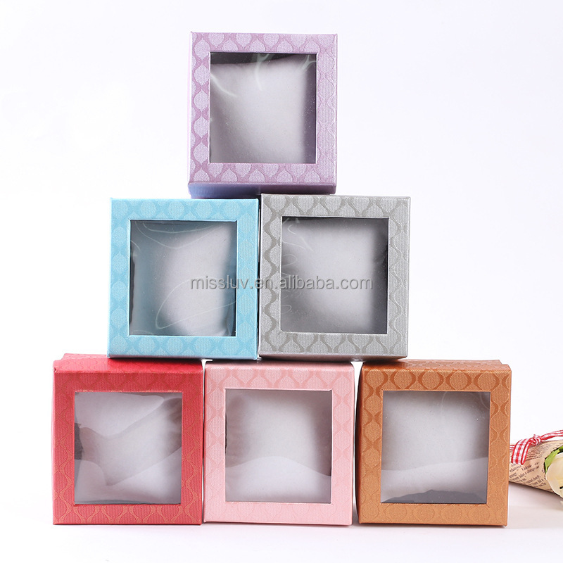 clear PVC window paper gift box paper jewellery box clear paper box for jewelry with pillow