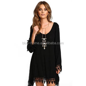 Sexy black Dress Long Sleeve Tassel Lace Patchwork Hollow Out Beach plus size summer dress for fat women