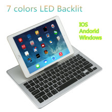 LED Light Tablet PC Folding Keyboard Aluminum Triple Folding Bluetooth Keyboard For iOS / Android / Windows
