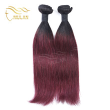 Ombre 1B/Burgundy Human Virgin Hair Weaving Wholesal Brazilian Virgin Remy Hair Straight Extension Products