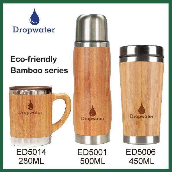 2016 Bamboo drinkware design 450ml inner stainless steel coffee tea infused bamboo bottle with strainer