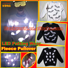 waterproof LED party dress embroidery round neck fleeces pullover touching active flashing shirt glowing luminous wear