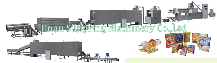 Jinan Sunpring Hot Sale Twin Screw Extruder Corn Flakes, Breakfast Cereal Making Machine, Processing Line