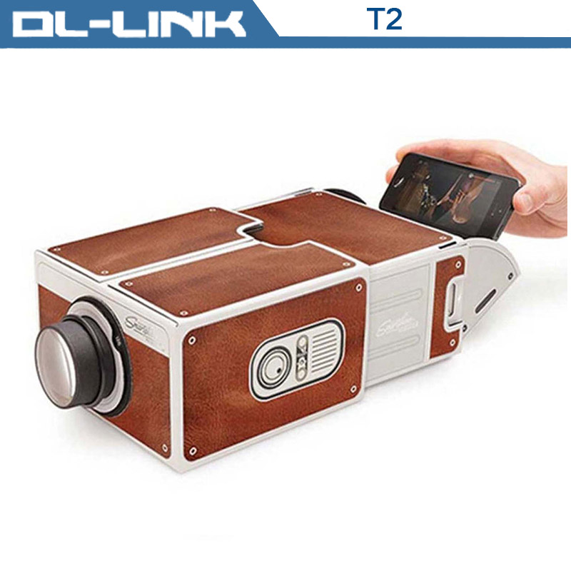 T2 Portable DIY Cardboard Mini Mobile Projector for Smartphones
