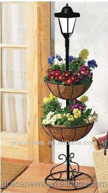 Solar Powered Plant Pot Flower Vase Stand Home & Garden