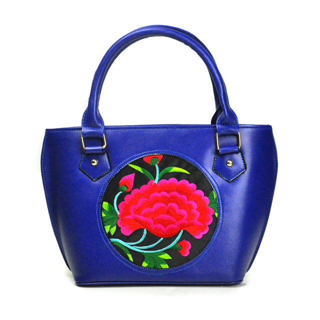 National style embroidered bag female 2017 new simple embroidery PU lady handbag