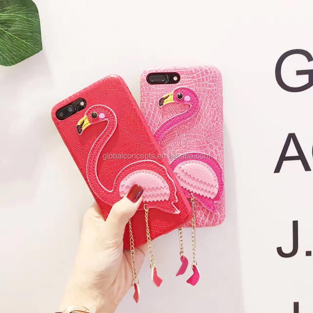 Factory Direct Sale Luxury Fashionable Flamingo PU Leather Case for iPhone6/6 plus/7/7 Plus