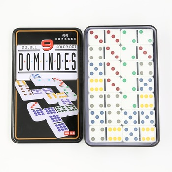 High quality double 9 domino blocks in tin box domino sets