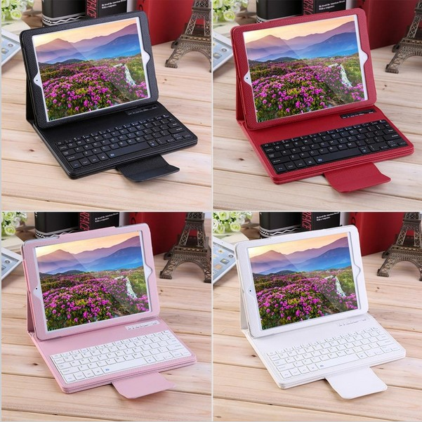 wholesale Wireless Removable Smart Bluetooth Keyboard Leather Case for Apple iPad Pro