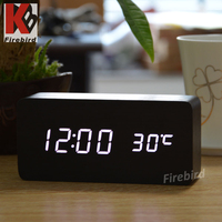 Wooden clock decorative led display bedroom digital clock with alarm function