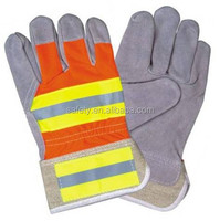 Cow Split Palm Cotton Refective Tape Working Gloves Rubber Cuff Comfortable Machinist Safety Gloves