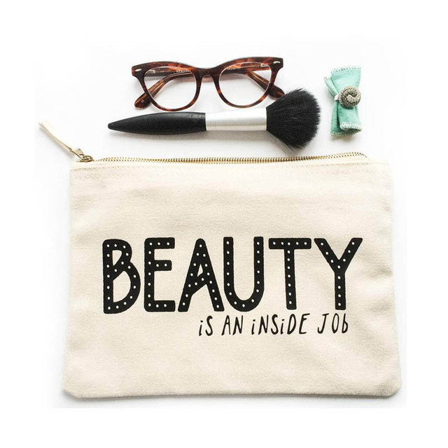 hot sale charms letter print white beauty makeup wholesale canvas cosmetic bag