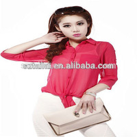 Apparel supplier Cheap Women's chiffon style blouse