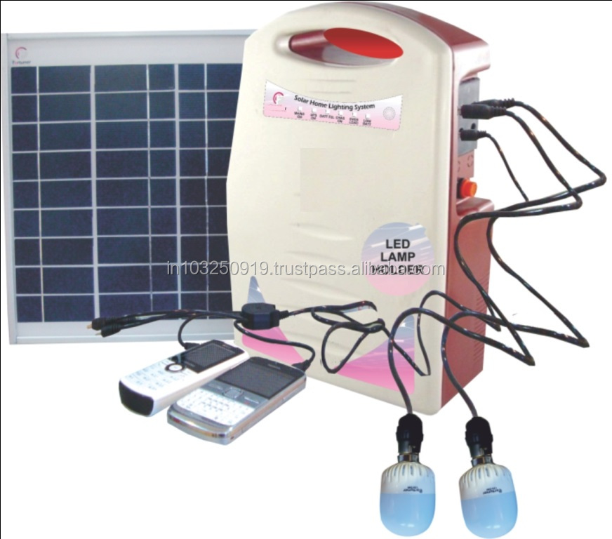 10 W Mini Solar Home Lighting System with FM Radio Mobile charger and DC Fan