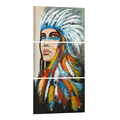 HD Printed American Indians Canvas Art Feathered Indians Painting Wall Pictures for Living Room Indian Canvas/SJMT2001