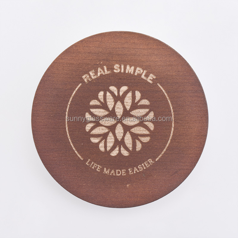 MDF wood lid with logo for candle jars wholesaler