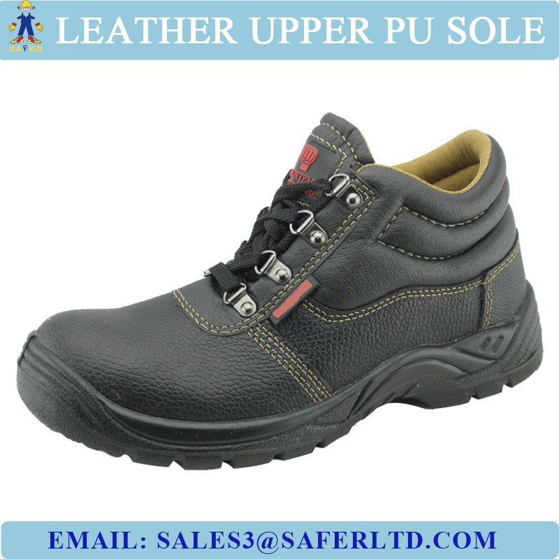 6 dollars cheap leather safety shoes with steel toe and steel plate