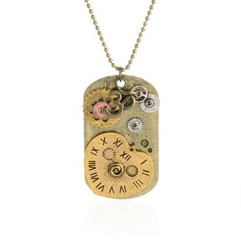 wholesale vintage exaggerated item steampunk dog brand heart clock pendant necklace