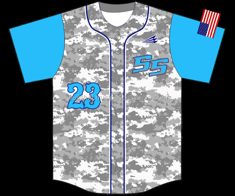 Custom dye sublimation baseball jersey / All over printed baseball jersey