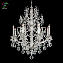 silver chandelier crystal wrought iron lamp